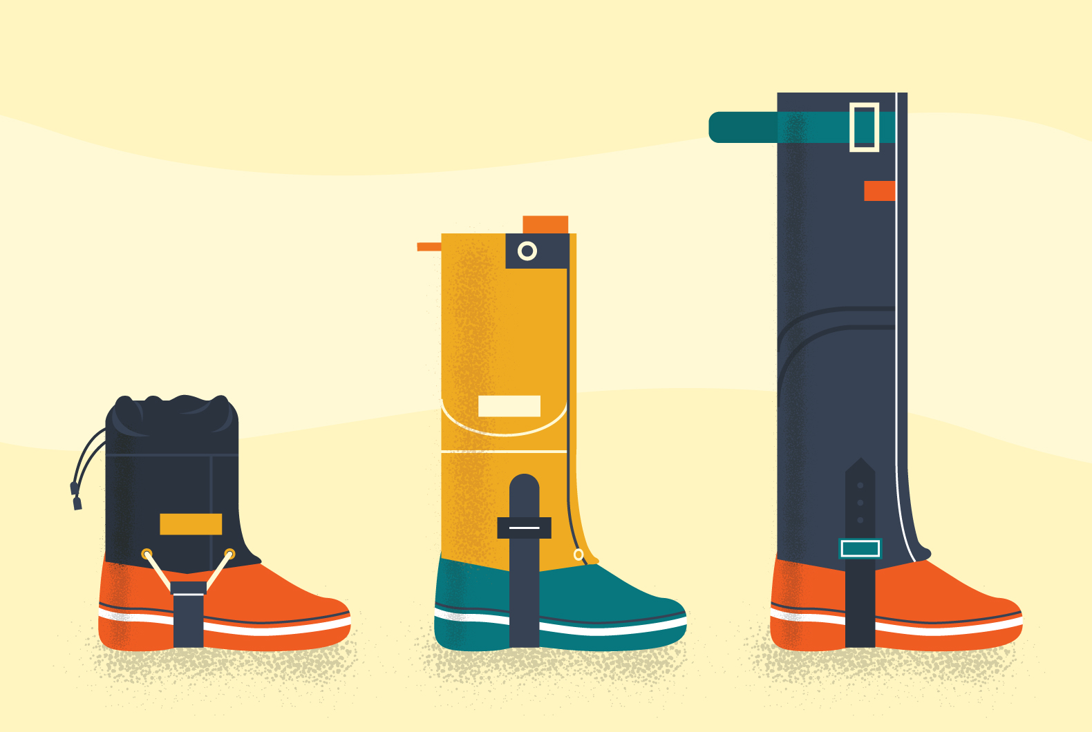 Types of gaiters - height