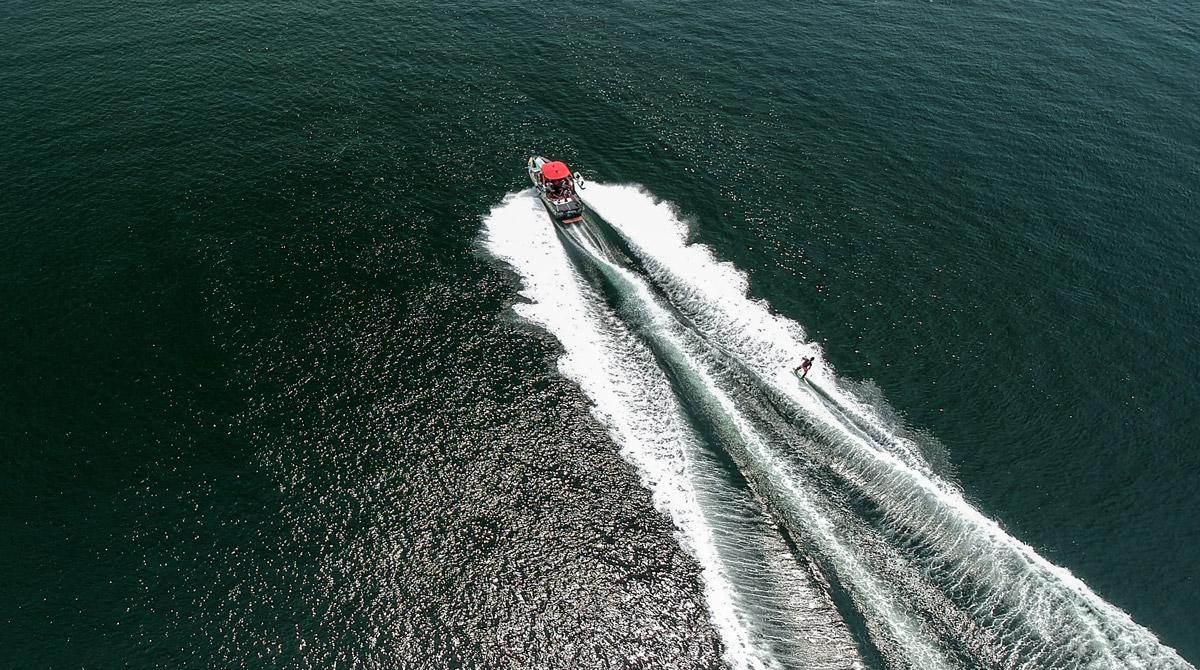Waterskiing aerial image