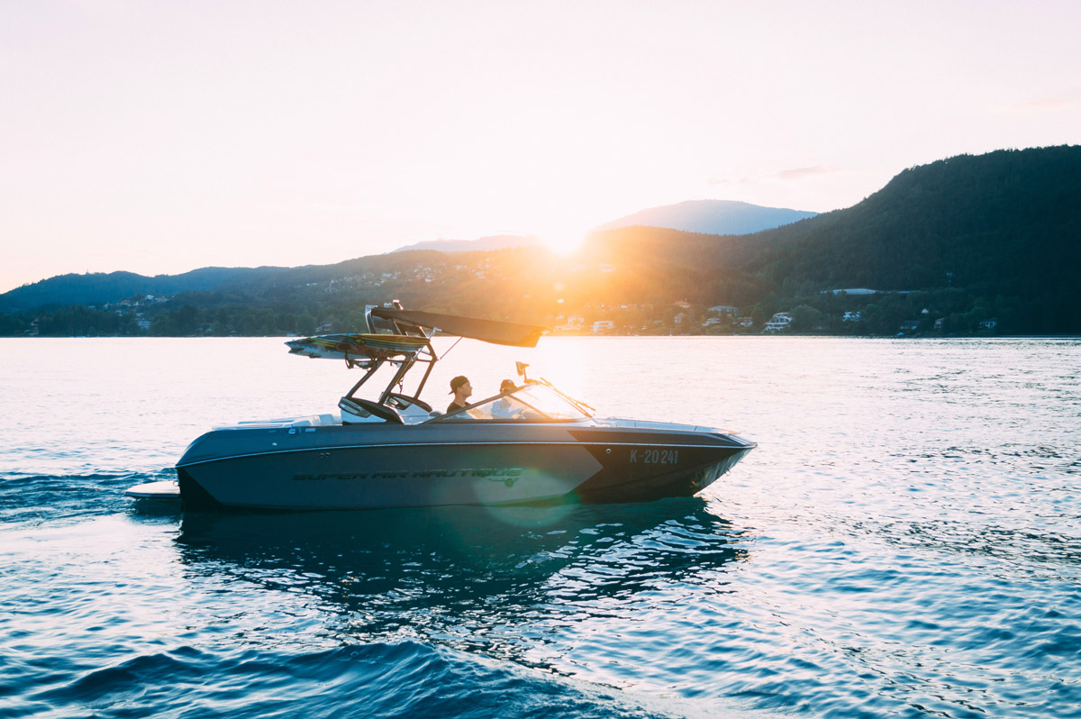 speedboat at sunset